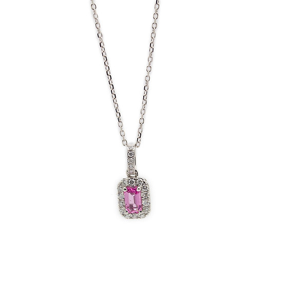 Pink Sapphire & Diamond Necklace & Earring Set Mulroy Antiques Jewellers