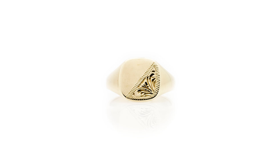 9ct Gold Cushion Signet Ring front view