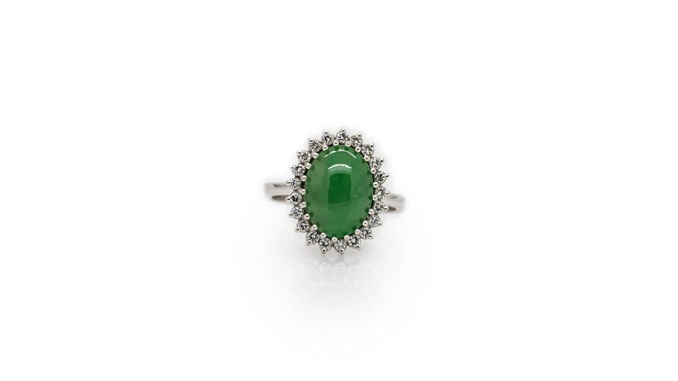 Jade & Diamond Halo Ring view 1