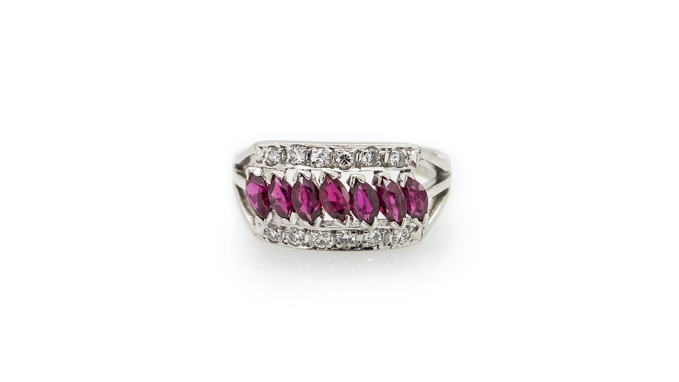 Marquise Ruby Ring Mulroy Antiques view 1