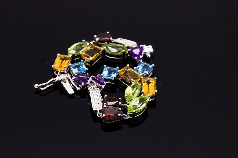 18ct White gold multicolour gemstone bracelet