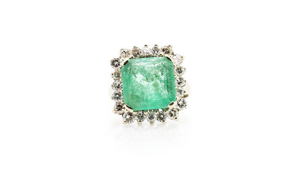 Emerald & Diamond Ring view 1
