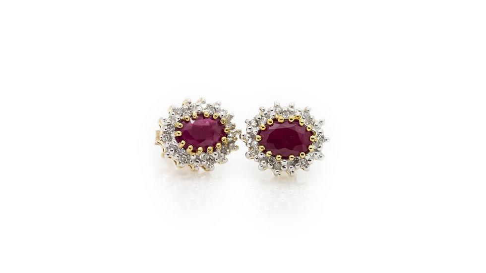 Oval Ruby Earrings Stud Back Earrings