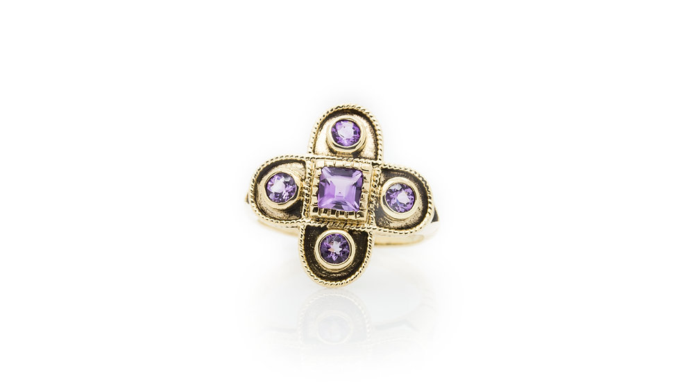 Antique Style Cross Amethyst Ring view1