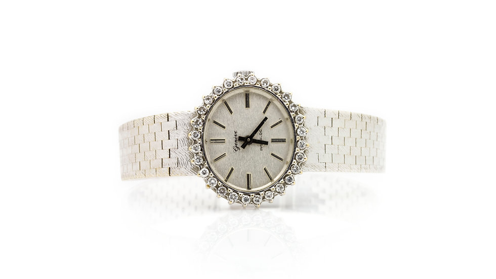 18ct White Gold Geneve Ladies Diamond Watch