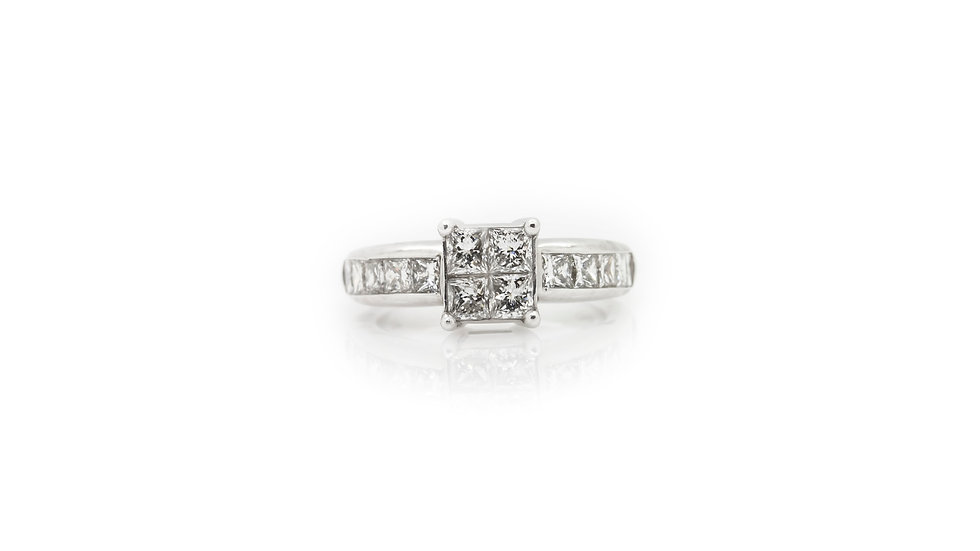 Princess cut Illusion Ring