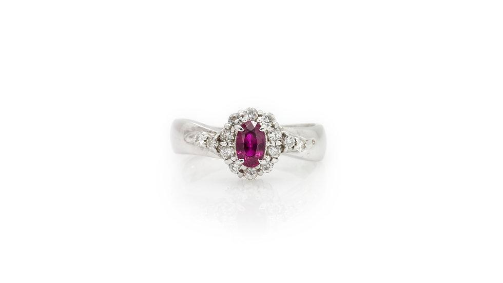 Ruby & Diamond Ring platinum view 1