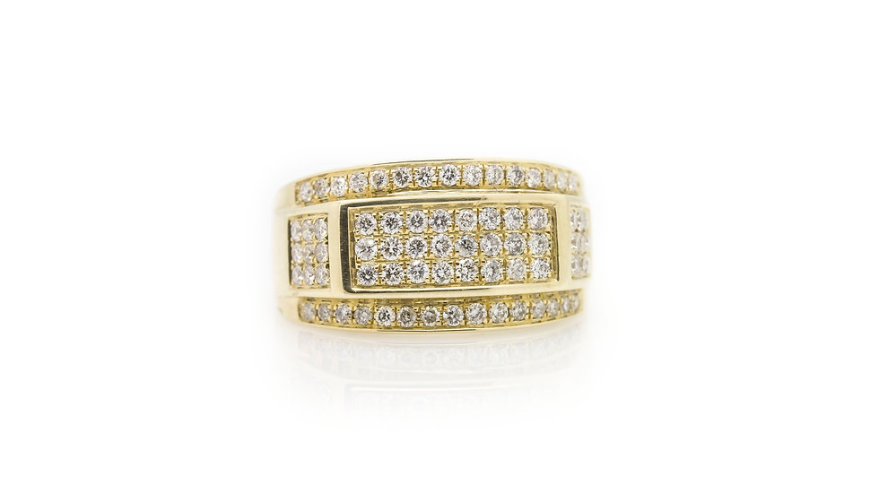 Yellow Gold Chunky Mens Diamond Ring front view