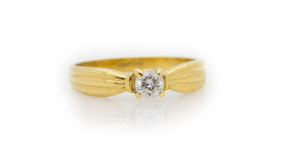 Yellow Gold Diamond Solitaire Ring front view