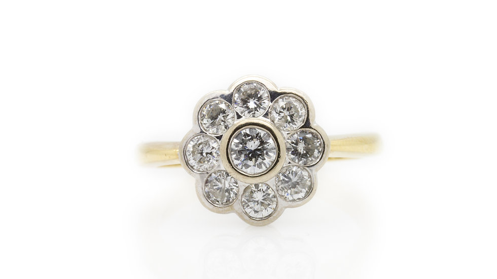 Diamond Flower Ring front view