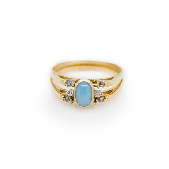 Turquoise & Amber Ring view 1