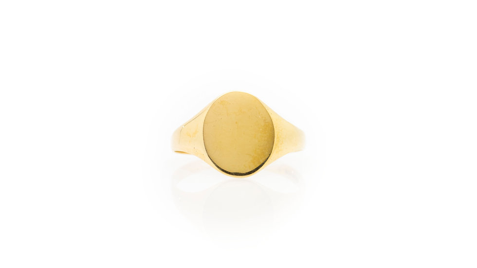 9ct gold oval mens ring