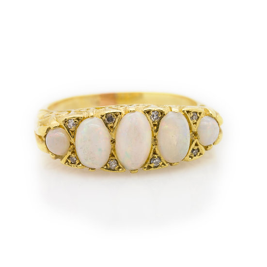 Opal & Diamond Ring front view