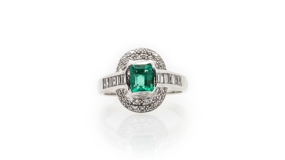 Art Deco Style Emerald Ring view 1