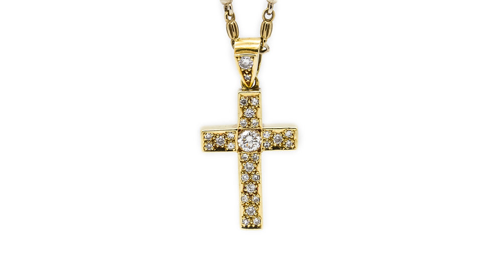 1ct Diamond Yellow Gold Cross