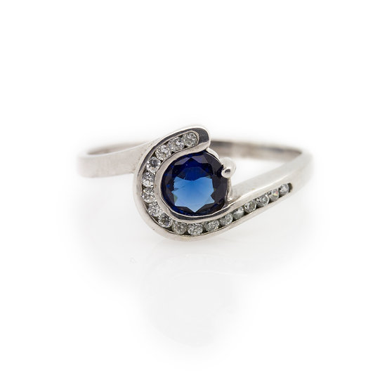 Modern Pave Twist Sapphire Ring front view