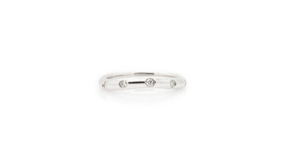 White Gold Diamond Curved Band