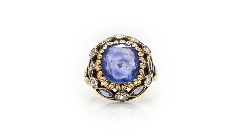 Antique Sapphire & Diamond Ring view 1