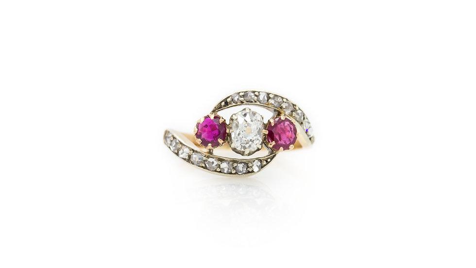 Ruby & Diamond Trilogy Ring Mulroy Antiques view 1