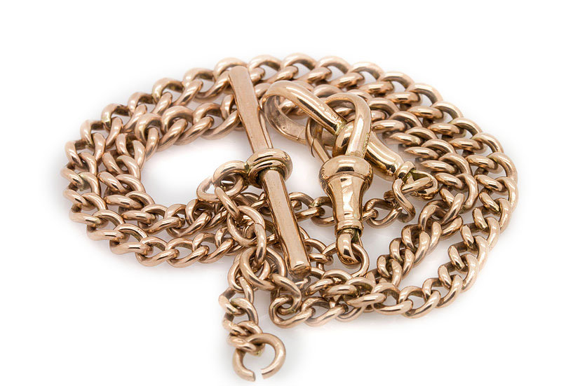 £695 Antique 9 carat Rose Gold Albert chain