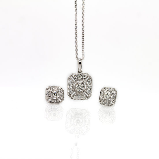 Art Deco Style Diamond necklace & Earrings