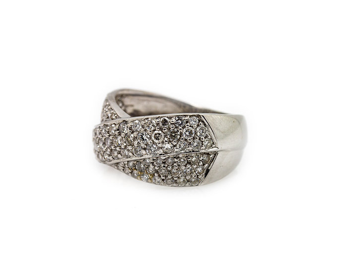 Pave Fancy Diamond Twist Dome Wide Band Ring