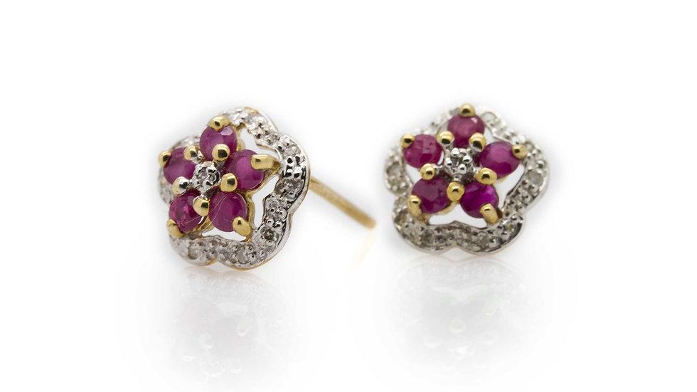 9ct Gold Ruby & Diamond Flower Earrings