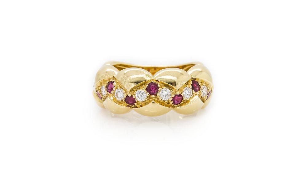 Ruby & Diamond Yellow Gold Band Ring Mulroy Antiques view 1