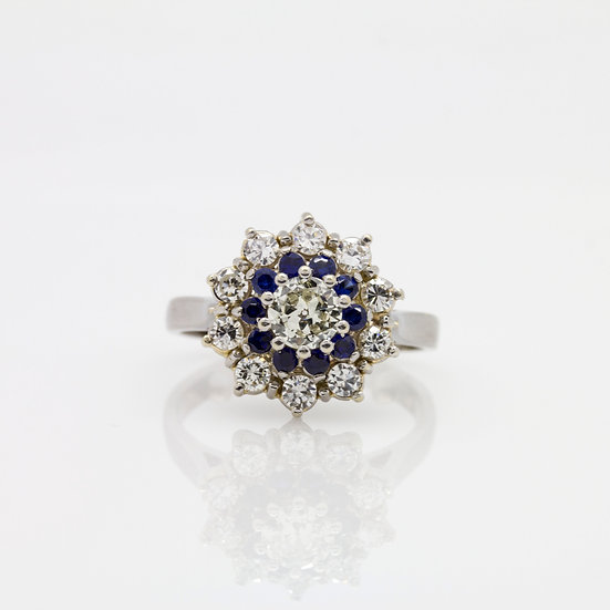 Diamond and Tanzanite Cluster Ring