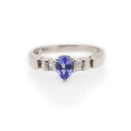 Pear Tanzanite & Diamond Ring front view