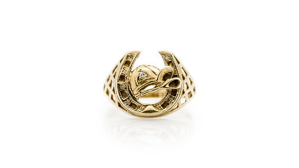 Mens Gold Horse Shoe & Jockey Ring