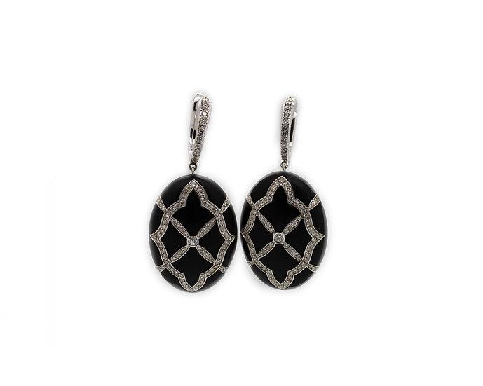 Onyx Oval Drop Earrings view 1