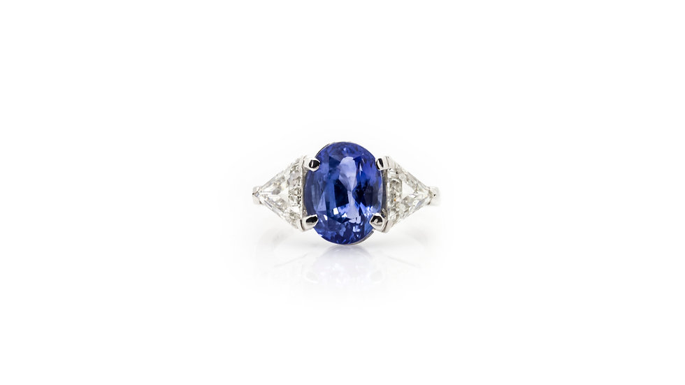 Sapphire Solitaire Ring view 1