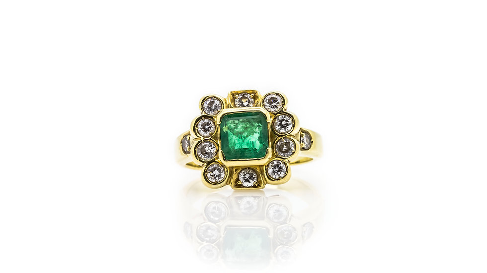 square art deco Emerald & Diamond Ring
