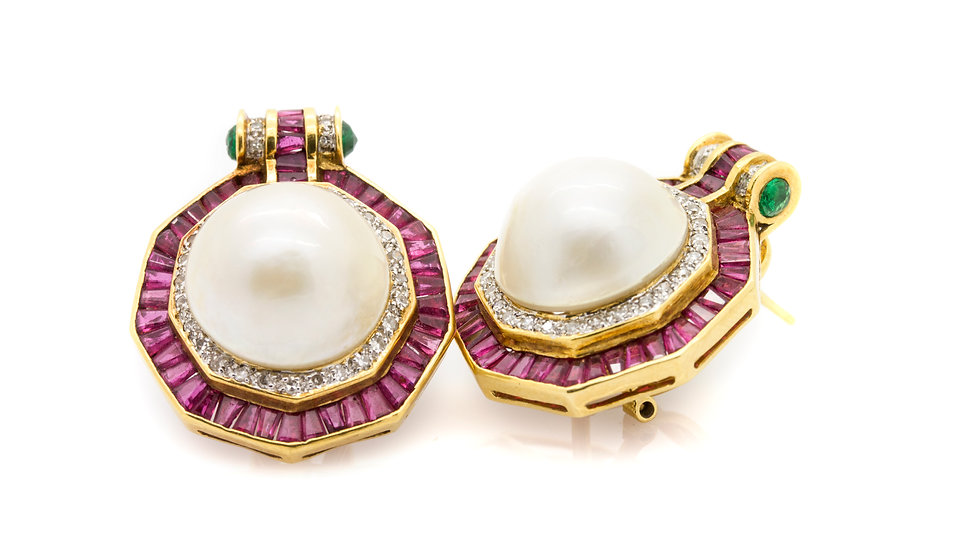 Pearl & Ruby Earrings with diamonds and emerald