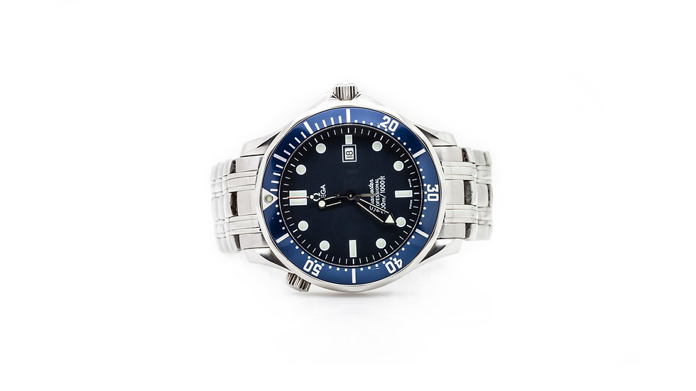 Omega Stainless Steel Blue Dial Seamaster Watch grosvenor jewellers view 1