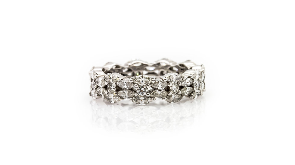 Marquise and Round Diamond Eternity Ring