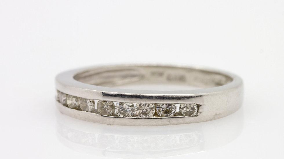 Platinum Band with Round Cut Diamonds