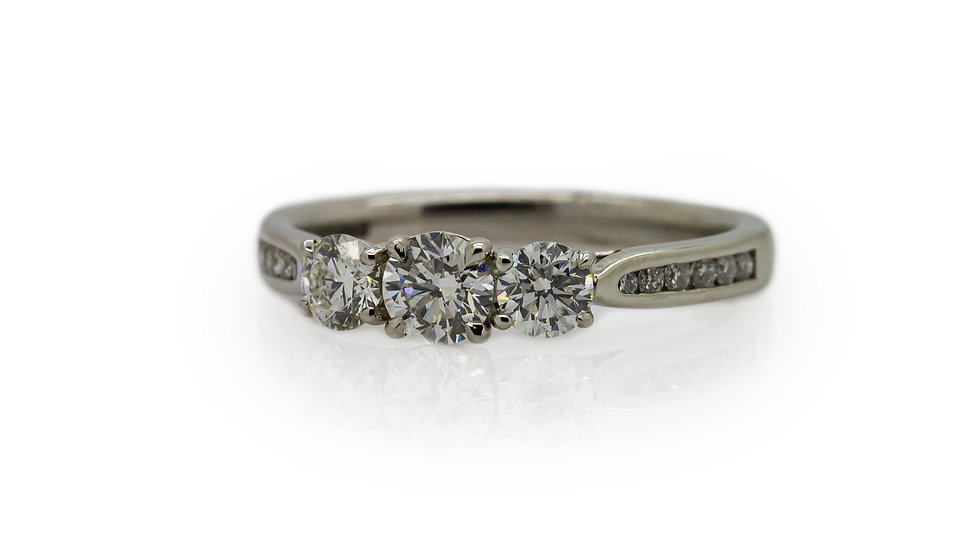 Raphael Platinum Round Brilliant Cut Diamond Trilogy Ring