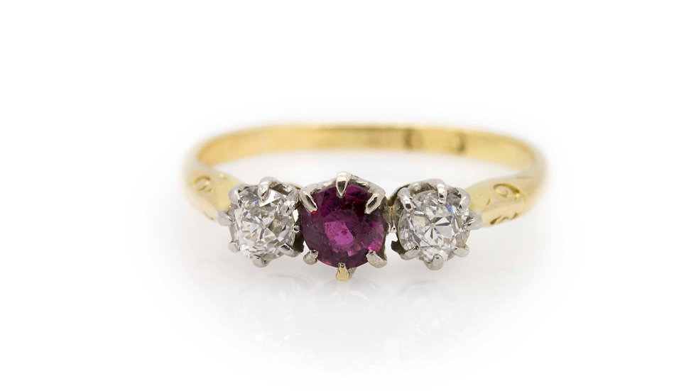 Ruby Trilogy Ring front view