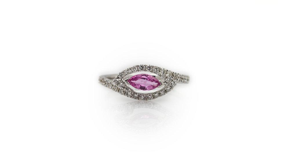 Pink Sapphire & Diamond Ring view1
