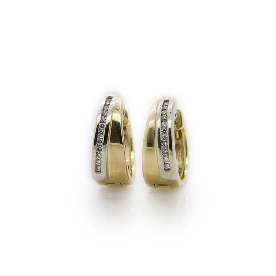 Yellow & White Gold  Hoop Diamond Earrings