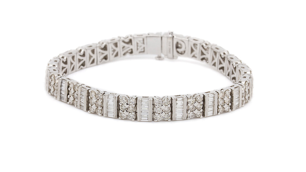 Diamond Tennis Bracelet With Rounds And Baguettes