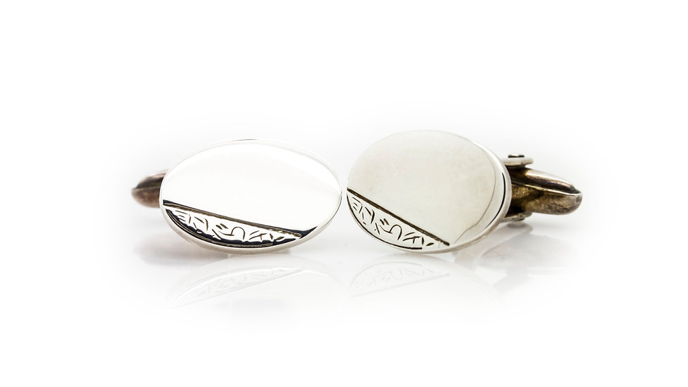 Sterling Silver Hand Engraved Oval Cuff Links