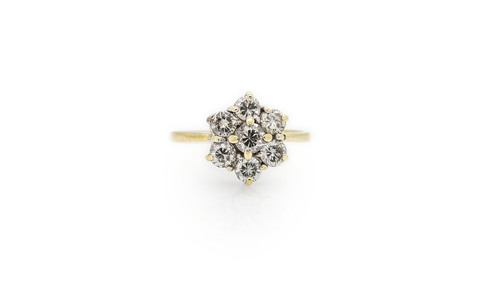 Flower Diamond Cluster Ring Mulroy Antiques view 1