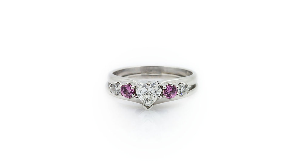 Heart Diamond Ring with pink diamonds