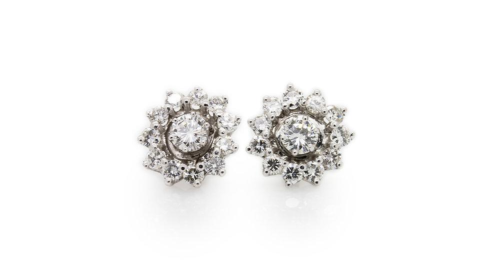 Diamond Flower Cluster Earrings Mulroy Antiques