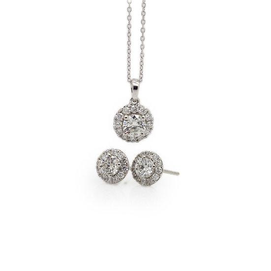 Diamond Halo Earrings & pendant