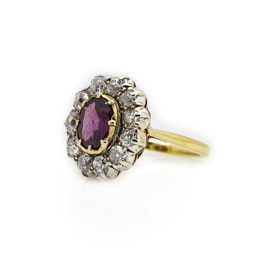 Garnet & Diamond Ring Mulroy Antiques view 1