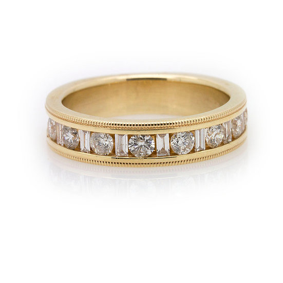 Mens Yellow Gold Diamond Wedding Band